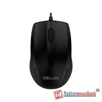 Компьютерная мышь, Delux, DLM-321OUB, Оптическая, USB, 1000 dpi, Длина провода 1,6м, Чёрный