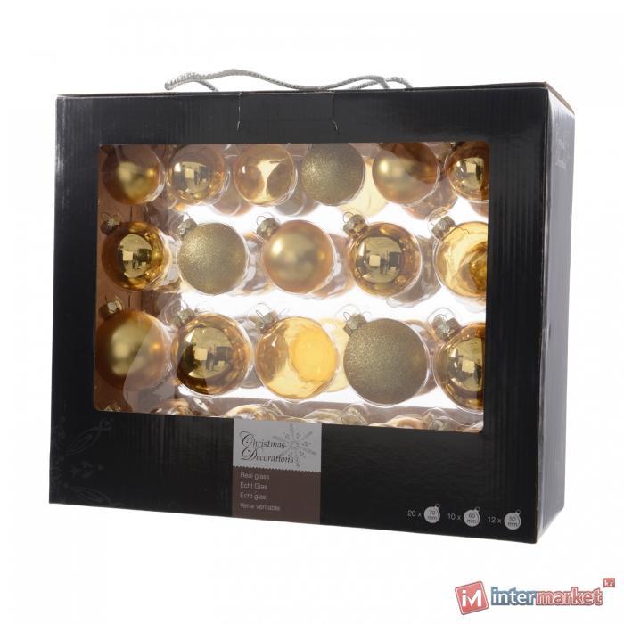 Шар стекло золотой глянцевый/матовый/прозрачный d5/6/7см 42шт/уп в ассорт